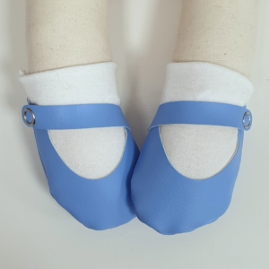 Cornflower blue shoes with white socks