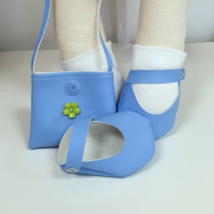 Cornflower blue shoes and handbag with white socks accessory bundle